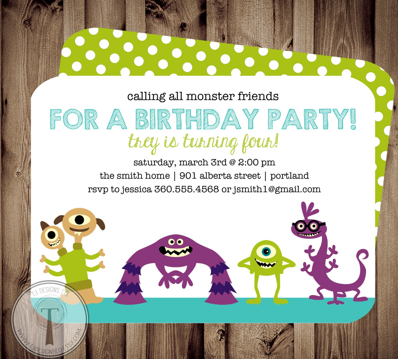 Monster friends birthday invitation birthday inviteboy and zoom filmwisefo Gallery