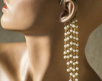 Pearl Ear Cuff Bohemian Jewelry Statement Ear Cuff Earring Long Chain Ear-Cuff Girlfriend Gift Dangle earrings Best Friend Gift for Her