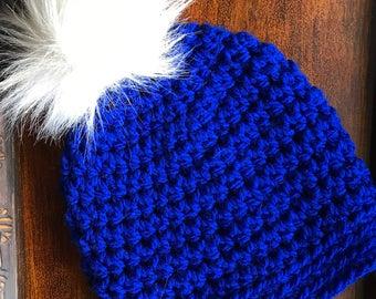 Royal Blue Slightly Slouchy Women's Winter Hat with faux fur pom-pom