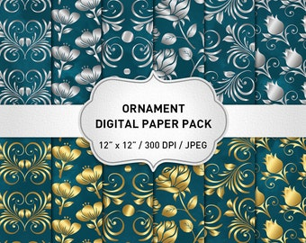 Gold and Silver Digital Paper, Silver, Gold and Teal Wedding Digital Paper, Teal Digital Paper, Flower Digital Paper, Green Digital