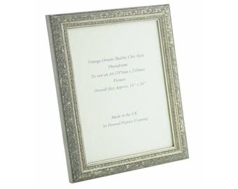Hand made shabby chic ornate distressed Antique Silver vintage photo frame for an A4 (297mm x 210mm) picture.
