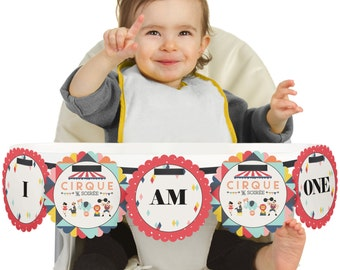 Circus / Carnival - 1st Birthday - I Am One - First Birthday High Chair Banner - Cirque Du Soiree Circus First Birthday Party Decorations