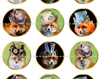 Fox Magnets Pins Party Favors Wedding Gift Sets Fridge Magnets Foxes in Hats