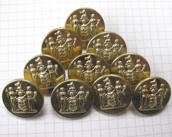 10 Large Shiny Heraldic Buttons