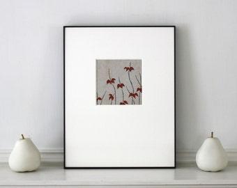 Vintage Botanical Textile Design Woodblock Print Framed 11 x 14 inches Tokyo