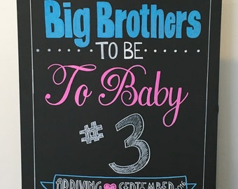 Pregnancy Announcement Chalkboard- Big Brothers To Be To Baby #3