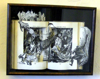 Moby Dick - One of a Kind Book Sculpture - Altered Book