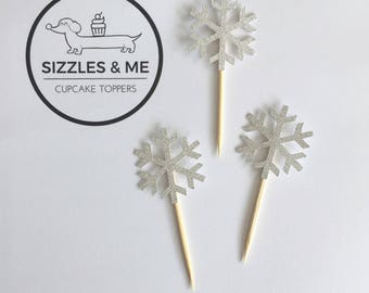 Frozen snowflake cupcake toppers
