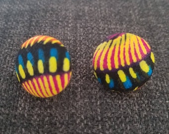 Multi-Colored African Material Button Earrings