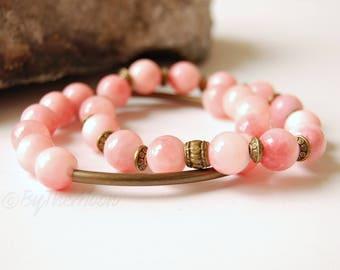 Pink Bracelet, Pink Bracelet Set, Pink Stone Bracelet, Pink Stretch Bracelet, Stone Stretch Bracelet, Boho Jewelry, Gift Women, Cotton Candy