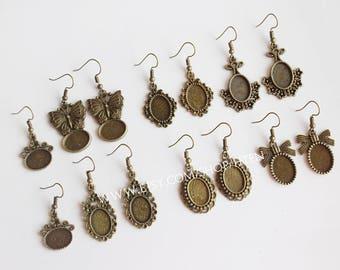 20pcs oval 10X14mm antique bronze Earring Setting  Earring Bases Blank Earwire Bezel base tray earring Ear