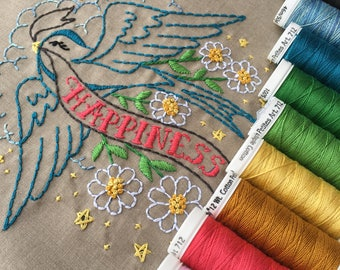 Embroidery pattern Bluebird of Happiness