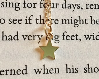 Little star 14K solid yellow gold tiny star 7mm pendant charm necklace drop dangle chain shaker necklace