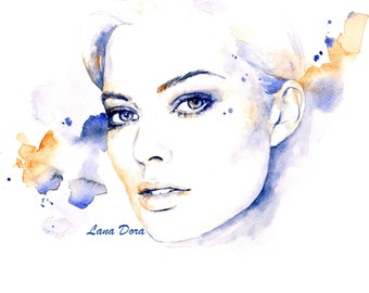 Margot Robbie Watercolor Art Portrait Print