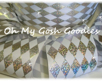 """HOLOGRAM JESTER WHITE Silver Grosgrain Tic Toc Cheer Ribbon - 3""""  - 5 Yards - Oh My Gosh Goodies Ribbon"""