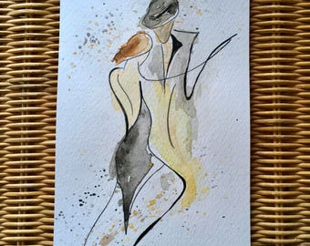Tango 3. Original not print, watercolour dance art. 12cm x 21cm