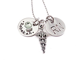 Personalized Nurse Necklace - Engraved Jewelry - Custom Nurse Gift - RN Graduation Gift - LPN - Nurse Student Gift - Gift Her - BSN - 1242