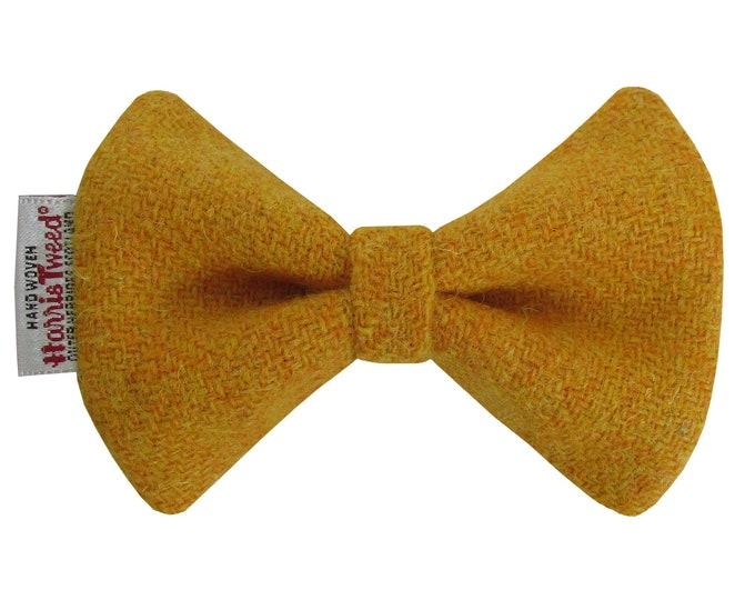 Harris Tweed Mustard Designer Dog Bow Tie