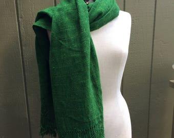 Vibrant Green Handwoven Scarf/Wrap