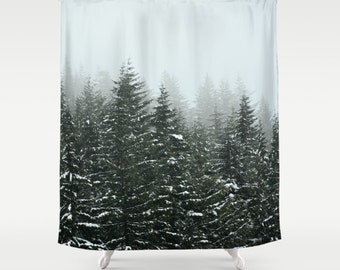 Shower Curtain, Bathroom, WIlderness Rustic Home Decor, Pacific Northwest Winter Storm Mountains, Photography RDelean Designs