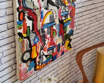 """1/6 scale hand painted Abstract Expressionist Art about 1945-1950 on genuine canvas sheet backed with foam core 6"""" X 6"""""""