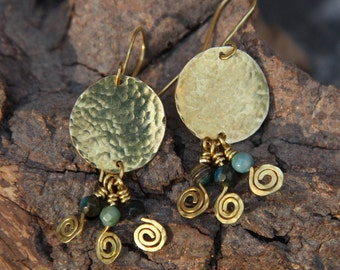 Brass and faceted agate circle drop earrings
