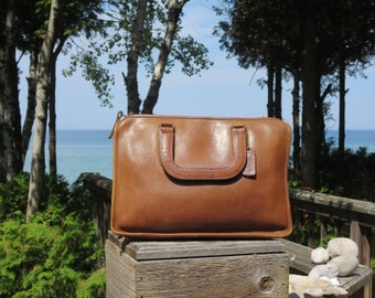 Etsy BDay Sale Coach NYC British Tan Leatherware Slim Standard Satchel Mini Briefcase Handbag Notebook Case  VGC Made in New York City