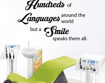 Dental Clinic Quote Wall Decal Dentist Smile Wall Art Stickers Decals Dental Wall Stickers Teeth clinic Removable Tooth Decor 572RE
