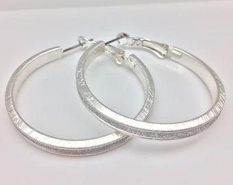 Glittery Silver Hoop Earrings // Brushed Finish // Tarnish Resistant // Steel Ear Wires // Fashion Hoop Earrings