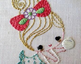 Mermaid girls Cutesie Digital Embroidery Patterns