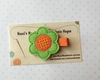 Felt Hair Clip- Spring Flower Hair Clip- Lime Green Flower with Orange Center
