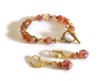 Jewelry Set Bracelet and Earrings Pink Yellow Beaded Set Czech Crystal Glass Jewelry  Mom's Gift  Gift Wrap