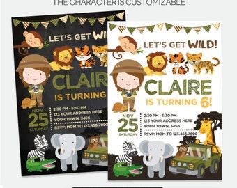 Safari Birthday Invitation, Jungle Birthday Party, Zoo Birthday Party, Girl Invitation, Personalized DIGITAL Invitation, 2 Options