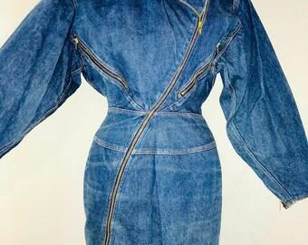 Azzedine ALAIA 1985 multi zipper denim iconic dress shown in VOGUE 1986