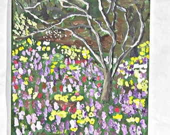 Art, Original Painting, Acrylic, Fine Art, Wrapped Canvas, Early Spring Garden, 12x9 inches