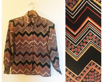 SHOP SALE Vintage 70s Chevron and Floral Button up Blouse