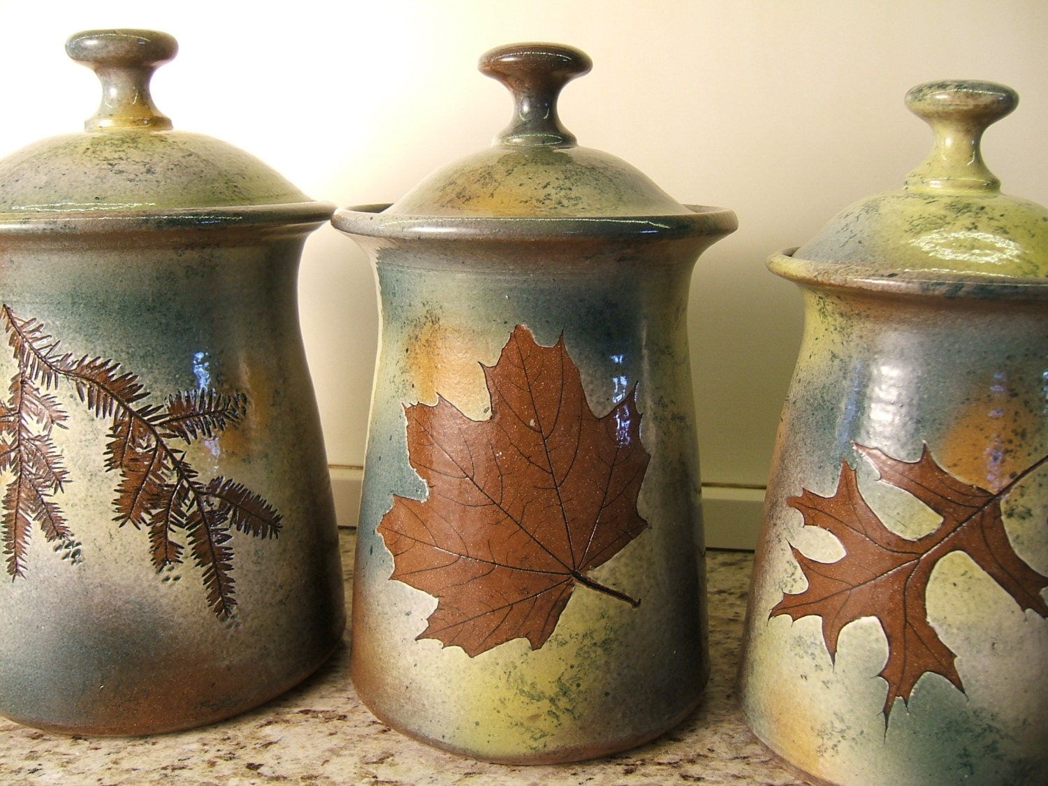 green canister sets kitchen canister set lidded jars kitchen canisters with tree leaves in 3972
