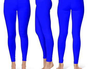 Blue Workout Pants, Womens Yoga Leggings, Mid Rise Waist Gym Pants