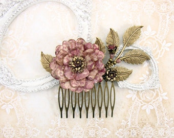 Dusty Rose Vintage Style Flower Hair Comb - Antique Brass Bronze Leaves Flower Hair Accessories Victorian Vintage Wedding Shabby Dusty Pink
