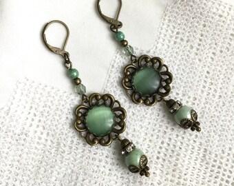 Green brass earrings green cat eye earrings