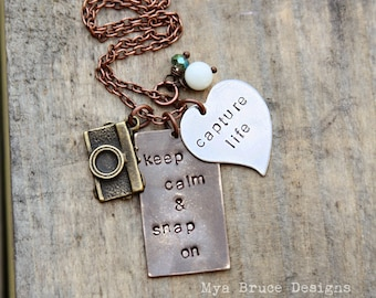 Mixed metal photographer necklace - keep calm and snap on, capture life
