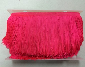 Pink lampshade etsy 20 yard bolt 6 neon hot pink chainette fabric fringe lampshade lamp costume trim aloadofball Gallery
