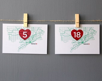 Detroit Love Modern Map Table Numbers Wedding Party