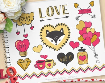Scandinavian Valentine Fox, Nordic art, Valentine Silhouettes, balloons, coffee, mason jar, Commercial Use, Vector clip art, SVG Cut Files
