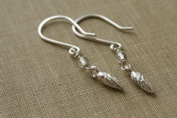 Leaf Bud Quartz Sterling Silver Earrings