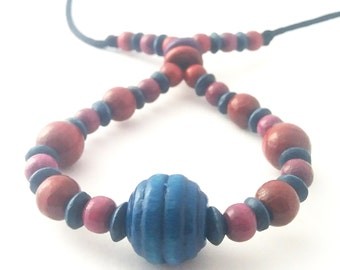 Fiddle necklace, breastfeeding necklace, babywearing accessory, nursing necklace, unique beaded necklace, navy mauve and burgundy