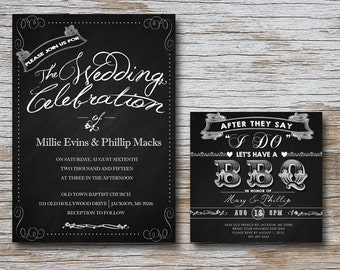 Mariage Invitation w/BBQ réception carte (fichier numérique) mariage; cérémonie; mariage; Tableau noir