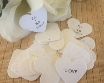 50 Plantable Paper wedding favors, plantable seed paper, plantable seed paper hearts, wedding seeds, seed favors, personalized seed paper