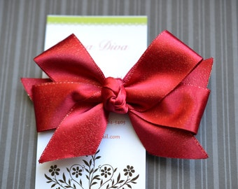 Shimmery Red Classic Diva Bow