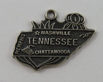 Map of Tennessee State Sterling Silver Vintage Charm For Bracelet